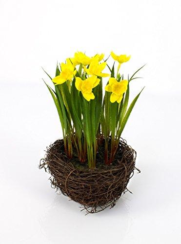 artplants Künstliche Narzisse im Reisig Nest, gelb, 22 cm, Ø 14 cm - Kunstblumen gelb/Narzisse im Topf
