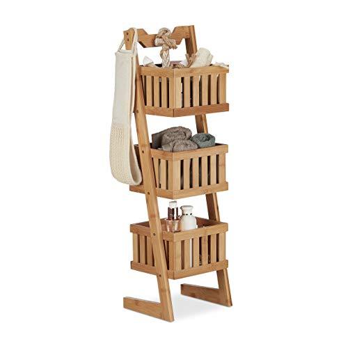 Relaxdays Estantería de baño, Tres estantes, Multi-usos, Organizador, Impermeable, Decorativo, Marrón, Bambú, 77 x 23 x 20 cm