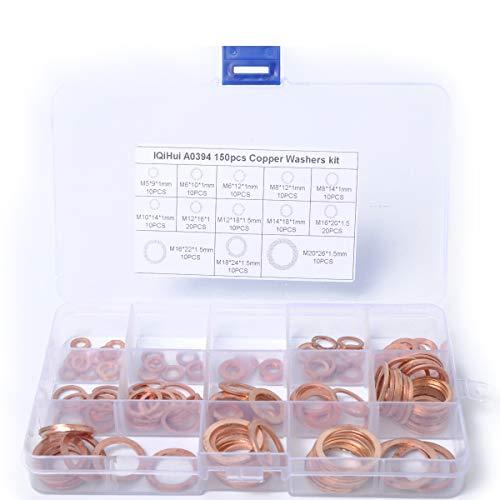 Junww Componenti Car Supplies 150 Pezzi 15 Dimensioni Varie Rame Solido Rondella Rondella Anello di Tenuta Set Box