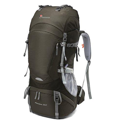 MOUNTAINTOP Mochilas de Senderismo al aire libre Impermeable para Viajes Excursiones Acampadas Trekking (Marrón-55L, 55L)