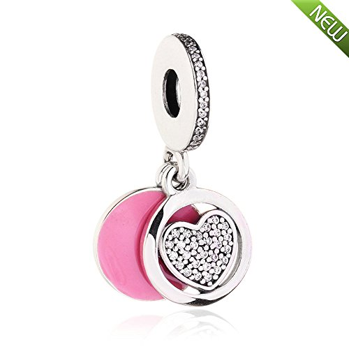 PANDOCCI 2017 per-Autumn Devoted Herz Charms 925 Sterling Silber Pink Emaille DIY Geschenke für Original Pandora Armbänder Schmuck (Baumeln Authentisch Pandora Charms)