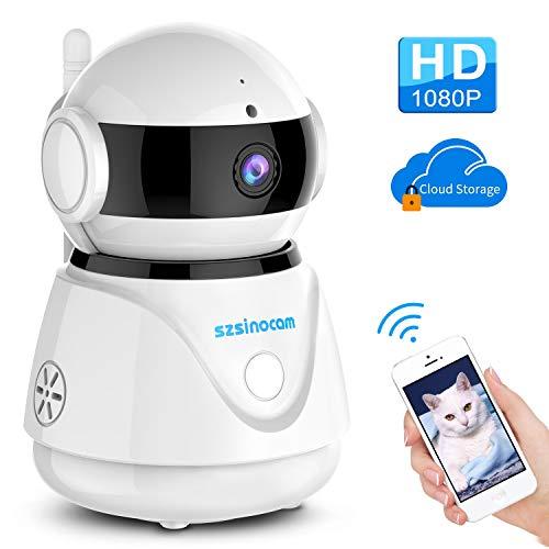 WLAN IP Kamera, SZSINOCAM 1080P FHD WiFi Überwachungskamera mit Nachtsicht Bewegungserkennung Zwei-Wege-Audio Schwenkbar Home Kamera Baby Monitor Mobile App Kontrolle