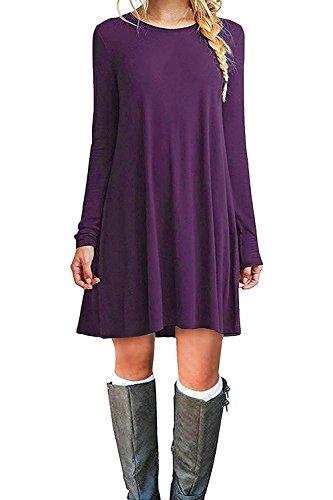 VIISHOW Damen Basic Causal Tunic Top Mini T-Shirt Kleid (Lila S) (Kleid T-shirt Lila)