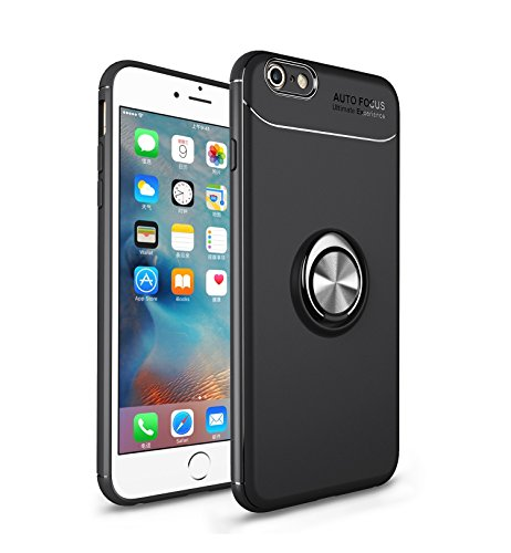 Mosoris iPhone 6S Plus Hülle Handyhülle mit Ring Kickstand Silikon Cover 360 Grad Drehbarer Ständer Magnet Ring, Stoßfest Rüstung Schutzhülle Bumper Tasche Case für iPhone 6 Plus,Schwarz + Schwarz (Plus Bumper 6 Iphone Metall Case)
