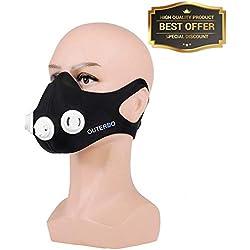 OUTERDO Mascara de Entrenamiento Deportivo Formacion Elevacion de la Mascara Ajustable 2.0 Altitud Entrenamiento Anaerobico Color Negro