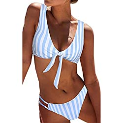 STRIR Traje de Baño Sexy Bañador de Baño Conjunto de Bikini Traje de Baño 2018 De Moda Verano Rayas Tops y Braguitas 2 Piezas Traje de Baño (Raya, S)