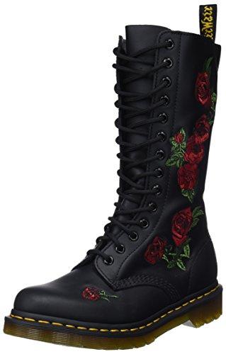 Dr. Martens VONDA Embroidery BLACK, Damen Combat Boots, Schwarz (Black), 39 EU (6 Damen UK) (Dr. Marten Stiefel)