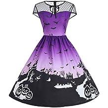 BaZhaHei de Halloween, Vestido de Fiesta sin Mangas con Estampado Vintage de Patchwork de Malla de Halloween para Mujer del Vestido de Panel de Malla ...