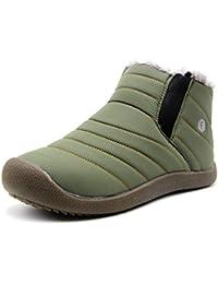 Weweya Hombres botas de nieve antideslizantes con la parte superior/parte inferior totalmente forrada de pieles