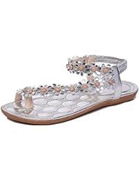 Sandales Femmes Plates Pas Cher, Été Bohemia Doux Sandales Perlées Clip  Toe Sandales Chaussures de Plage Ballerine Escarpin… 940cefa2bdc4