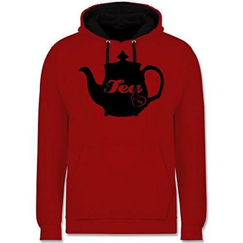 Statement Shirts - Tea-Shirt - Kontrast Hoodie Rot/Schwarz