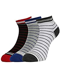 Van Heusen Men's Cotton Socks (D.Grey /White, Blue/Grey and Red/Black, Free Size) - Pack of 3