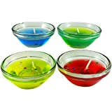 Ammvi Creations Set Of Four Gel Filled Glass Diwali Diya Set