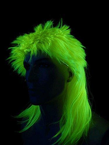 Schwarzlicht Perücke Vokuhila Glatt Neon Gelb