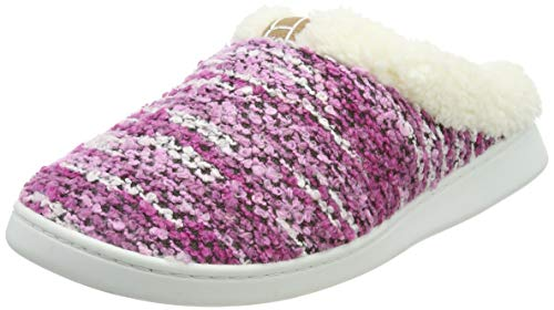 Harrms Damen Winter Hausschuhe Plüsch Warm Gefüttert Schafwolle Pantoffeln Slipper rutschfest Fleece-Futter Slipper Fell Slipper Kuschelig Indoor Gestrickt,Lavender,40/41 EU