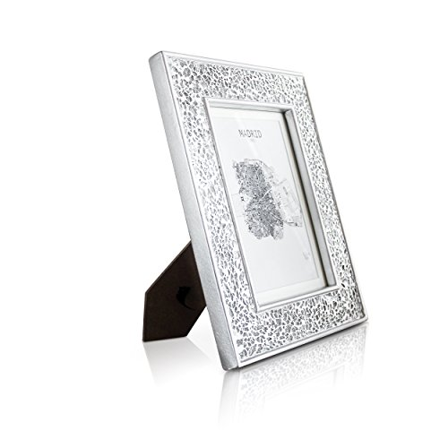 Glamour by Casa Chic Silver Photo Frame - 5x7 inch Frame Glitter Mosaic - Glass Front - With Picture Mount for 6x4 inch Photo - 4 Centimetres Edge Width - Sparkling Silver