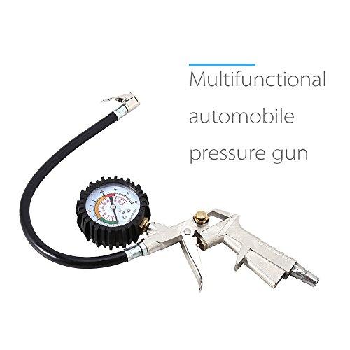Reifen Manometer Multifunktionale Automotive Druckpistole Reifendruckmesser mit Reifenfüll Reifendruck Monitor für Lastwagens Autos Fahrräder und Motorräder (Reifen-gas-pumpe)