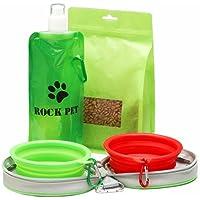 Rockpet Comedero y Bebedero Plegable Portatil para Perro Gato Mascota para Viaje con bolsa de viaje