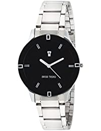 Swiss Trend Rustic Black Dial Stainless Steel Watch For Women - OLST2278