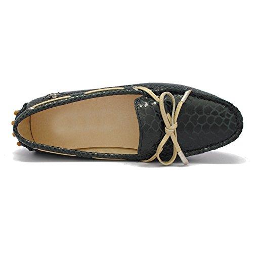 Minitoo tyb960–9Donna Casual Zigrino nodo in pelle sintetica guida scarpe mocassini mocassino Flats Black-Stripe