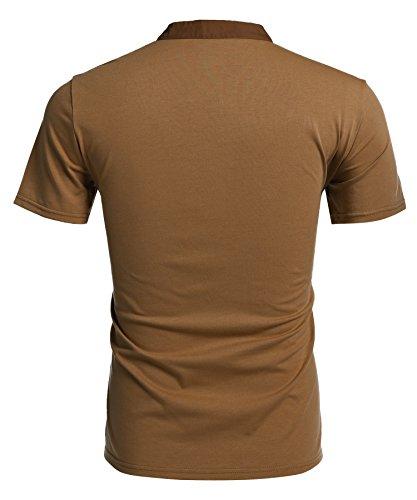 Aulei Herren Poloshirt slim fit Stehkragen fashion casual T-Shirt Unifarbe kurzarm Hemd Braun