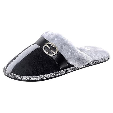 Ladies Black Faux Suede Mule Slippers Faux Fur Lining Non-Slip Hard Soles 5-6