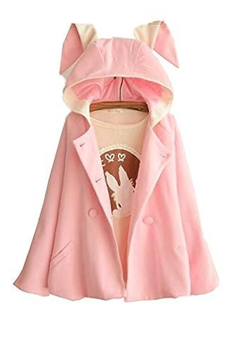 hqclothingbox Women's Cute Button Down Tweed Cat Ears Hooded
