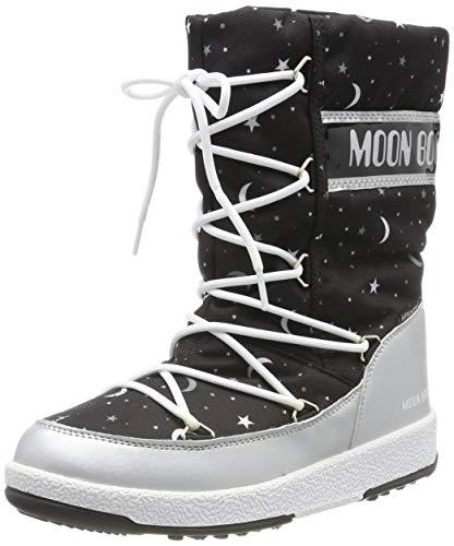 Moon-boot Mädchen Jr Girl Quilted Universe Wp Schneestiefel, Schwarz (Nero 001), 36 EU