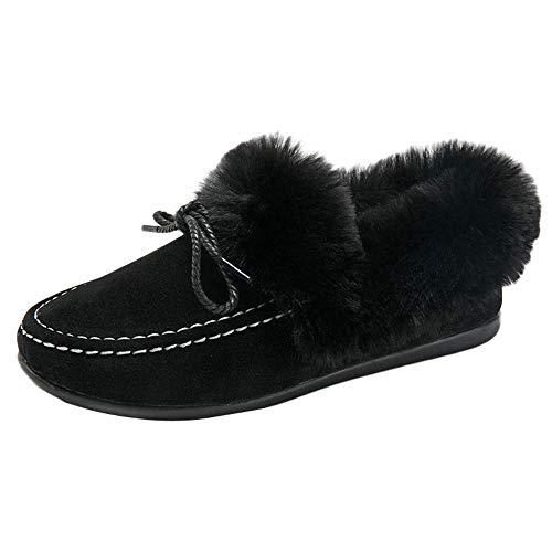 (ZHRUI Mode Frauen Flache Stiefel Peas Schuhe Plus Innen Wolle SAMT Baumwolle Schuhe Schneeschuhe (Farbe : Schwarz, Größe : 3 UK))
