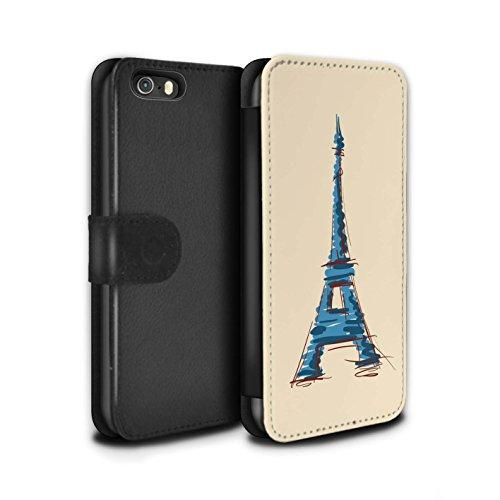 Stuff4 Coque/Etui/Housse Cuir PU Case/Cover pour Apple iPhone 5/5S / Moulin/Hollande Design / Monuments Collection Tour Eiffel / Paris