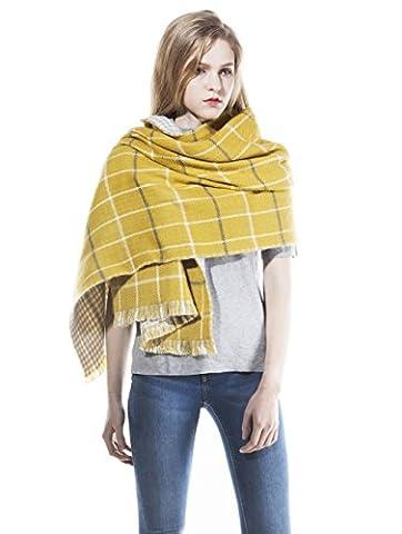 HSHIAWomen's Ladies Vintage Wraps scarf scarves Elegant Tartan Plaid Scarf Shawl Yellow