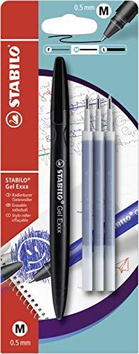 Radierbarer Gel-Roller - STABILO Gel Exxx - 1er Pack - schwarz - inklusive 3er Refill