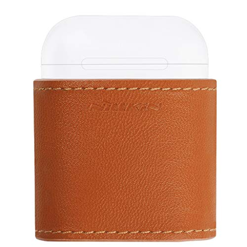 Wireless Charger Leather Kratzfest Shockproof Hülle für Apple Airpods kopfhörer Haut Abdeckung Fall-Abdeckung für Apple airpod Aufladen Case Schutzhülle Wireless-Ladekoffer Zubehör (Brown) Apple Desktop-haut