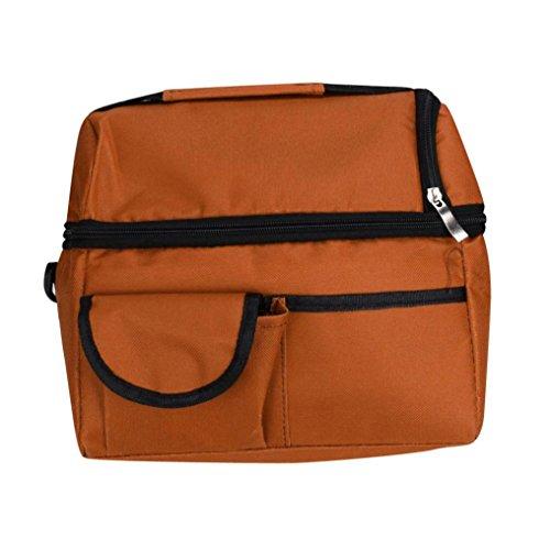 Coloré(TM) Sac Repas Lunch Bag Sac à Déjeuner Isotherme Sac Zipper Box Chiller Bag pour Camping Repas Pique-nique Voyages Sport (Orange)