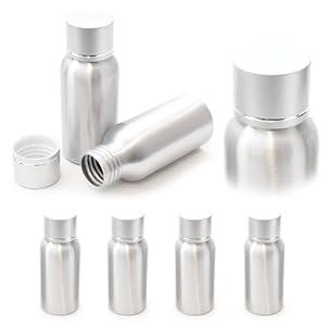 4er SET Aluminium Fläschchen 50ml, Reise-Spender mit Schraubverschluss, Farbe: Silber – Marke Ganzoo