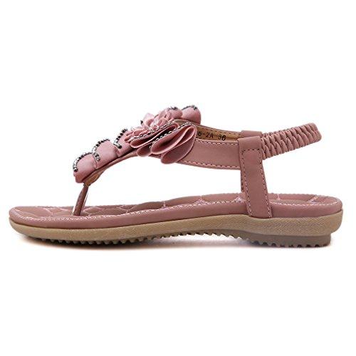 YoungSoul Sandales plates à fleurs à entredoigt Tongs à ornements Chaussure de plage d'été confort Sandale bout ouverte femme Rose