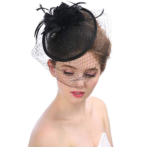 Flowing Water Frauen-Stirnband Fascinator Headwear Hat Feder Haarclip Party Hat Blume Schleier Tea Party Derby,Black