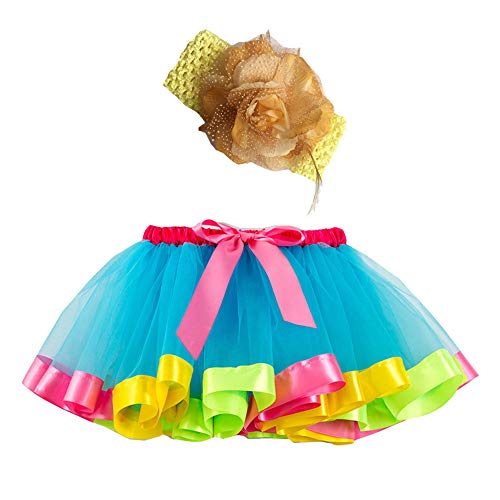 Mädchen Kinder Tutu Rock, zweiteiliges Set Party Tanz Ballett Kleinkind Baby Regenbogen Kostüm Rock + Stirnband Set Karneval Ostern (2Y-11Y)(Grün,L)