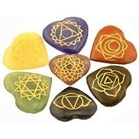 Edelstein SET mit 7 Chakra Symbolsteinen (Herz) in Samtbeutel preisvergleich bei billige-tabletten.eu
