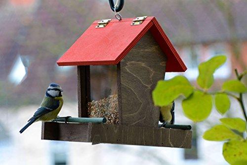 dobar 91108FSCe Futterspender Vogelhaus aus Holz für Wildvögel, 16 x 20 x 21 cm, rot / braun / grün - 2