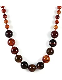 AqBeadsUk Classic Semi-Precious Gemstone 10-18mm Brown Agate Round Beads 18.8 inch Luxury Hand-Knotted…