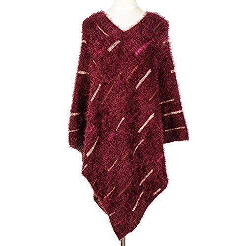 Otoño Invierno Cape Poncho Color Raya Chal Mohair Suéter Manto Cálido  Abrigo De Mujer 85bb26f7ae4c