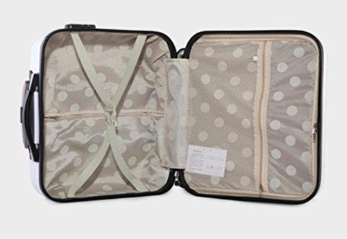 Xiuxiandianju bagaglio di 16 pollici ABS caster asta viaggio causa usura impermeabile casual (diversi SuitcaseColour) , white , 16 inch Black