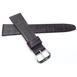 Extra Long (XL), 18mm wide, Brown Womens' Genuine Leather Watch Band Strap, Classic Style, Semi-Gloss Finish, Also Comes in Black and Tan