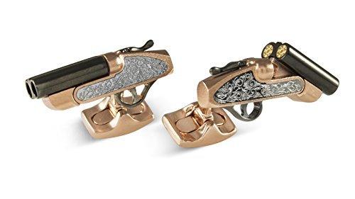 Deakin und Francis Rose Gold und Schwarz Rhodium Shotgun Manschettenknöpfe