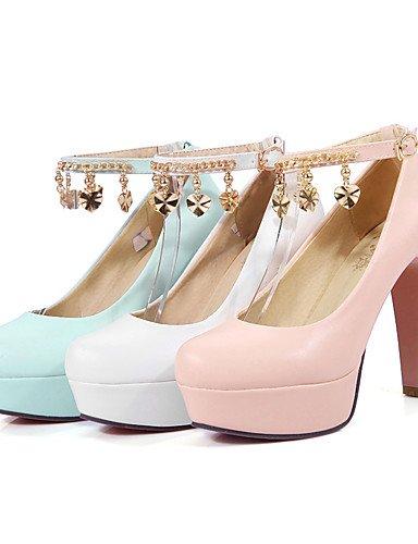 WSS 2016 Chaussures Femme-Bureau & Travail / Décontracté-Bleu / Rose / Blanc-Gros Talon-Talons / Bout Arrondi-Talons-Polyuréthane blue-us7.5 / eu38 / uk5.5 / cn38