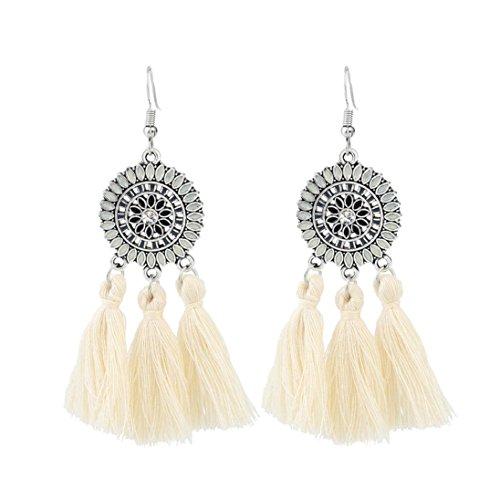 Böhmische Ohrringe Frauen lange Troddel Fringe baumeln Ohrringe Schmuck HKFV ,Europa und die Vereinigten Staaten Mode große Quaste Ohrringe (Weiß)