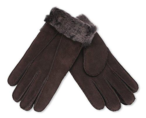 Damen – Nordvek Handschuhe aus 100 % echtem Schaffell mit Pelzrand
