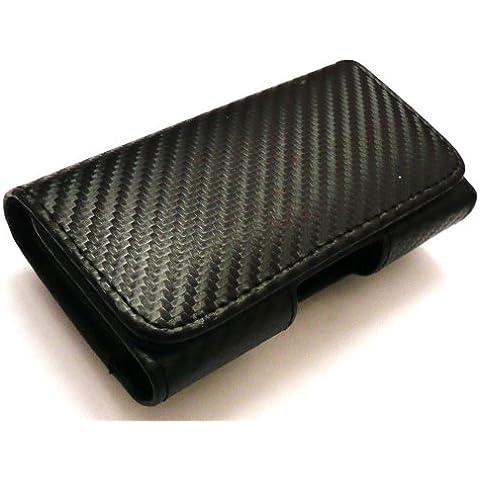 Emartbuy Tejido Modelo Samsung I8700 Omnia 7 Compatible Pu Horizontal De Cuero Negro Bolsa De Caso / (Tamaño Xxl) Con Clip Para