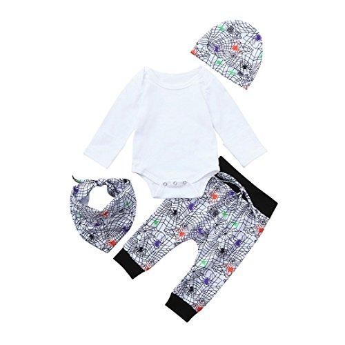 QinMM Neugeborenen Baby Strampler Tops Prin Hosen Cap Lätzchen Halloween Outfits Kleidung Set Geist Print Kleidung Set Weiß für 6 Monate-24 Monate (12M, Weiß)